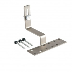 Roof hook for tiles (rails mounted horizontally)